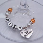 Chief Bridesmaid Personalised Wine Glass Charm - Elegance Style